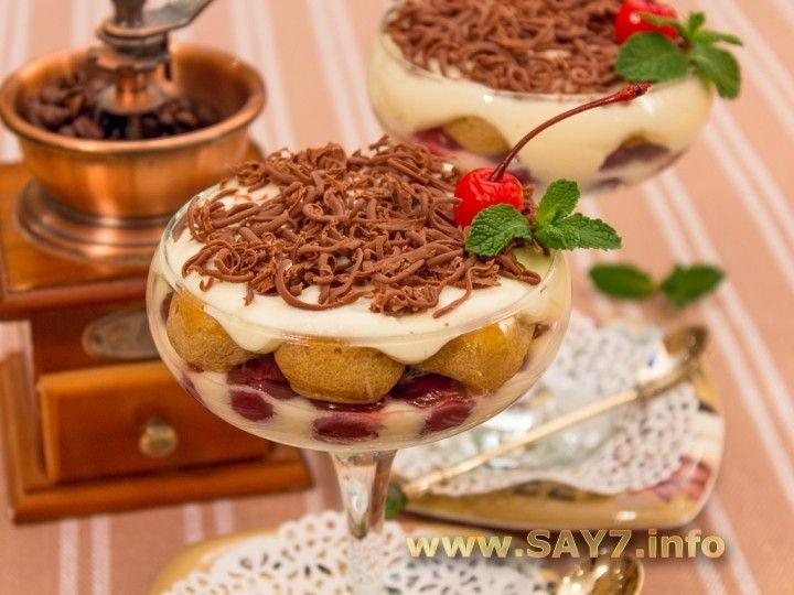 Tiramisu with cherries.