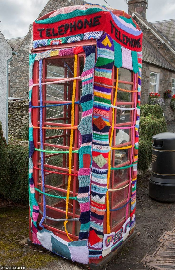 """team of """"guerrilla knitters"""" have decorated local landmarks with crochet and knitted art"""