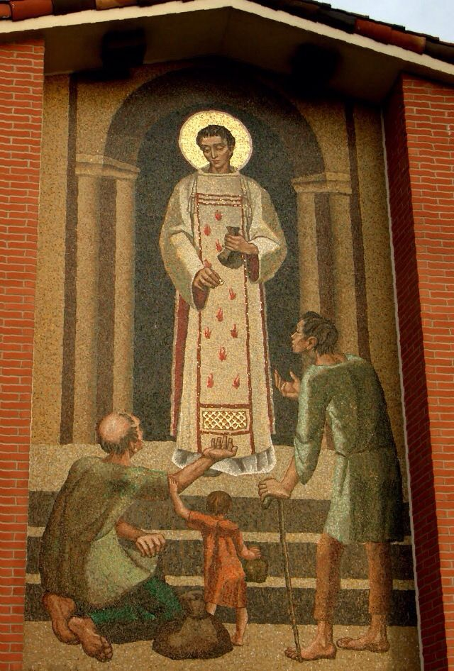 St. Lawrence was martyred by fire. We imagined him on a spit telling his persecutors to turn him over, he was done on that side.