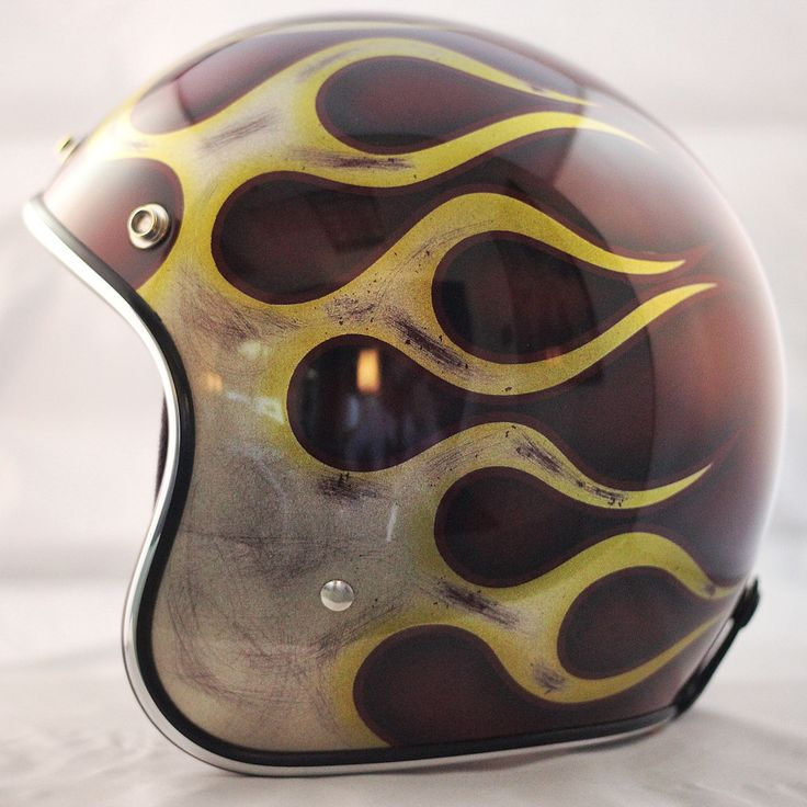Custom hand crafted Biltwell novelty helmet. Red Lace and Flames. Available at: www.crownhelmets.co