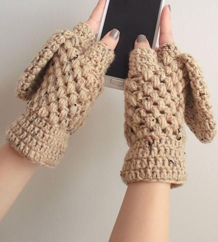 convertible crochet mitts that go from fingerless to mitts