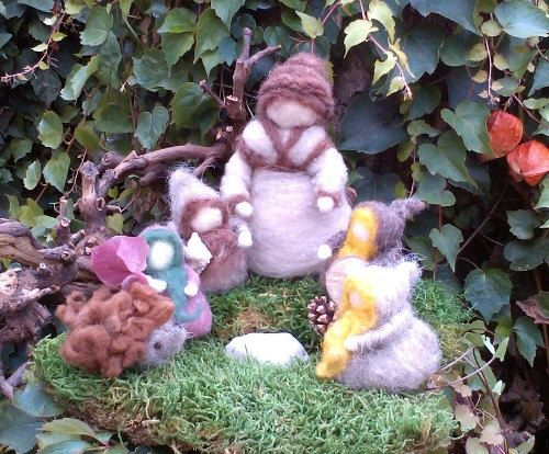 Autumn Forest Mother Gnomes and Hedgehog Needle Felted Waldorf Dolls
