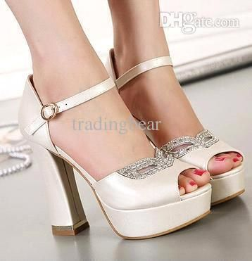 Rhinestone Fox Mask Bridal Heels White Heel Ivory Shoes Comfortable Thick Heel Platform Wedding Shoes 12CM Size 35 to 39, $32.22 | DHgate.com