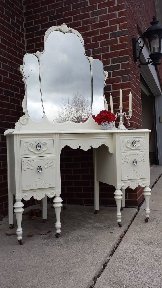 Beautiful Antique Shabby Chic Vanity / by PreciousBowments on Etsy, $600.00