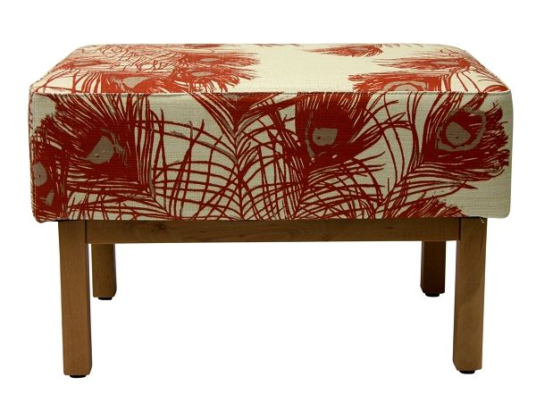 Ruby Footstool in Florence Broadhurst Peacock Feathers Clay #materialisedfabrics #fabricsfortherealworld #performancefabrics #florencebroadhurst