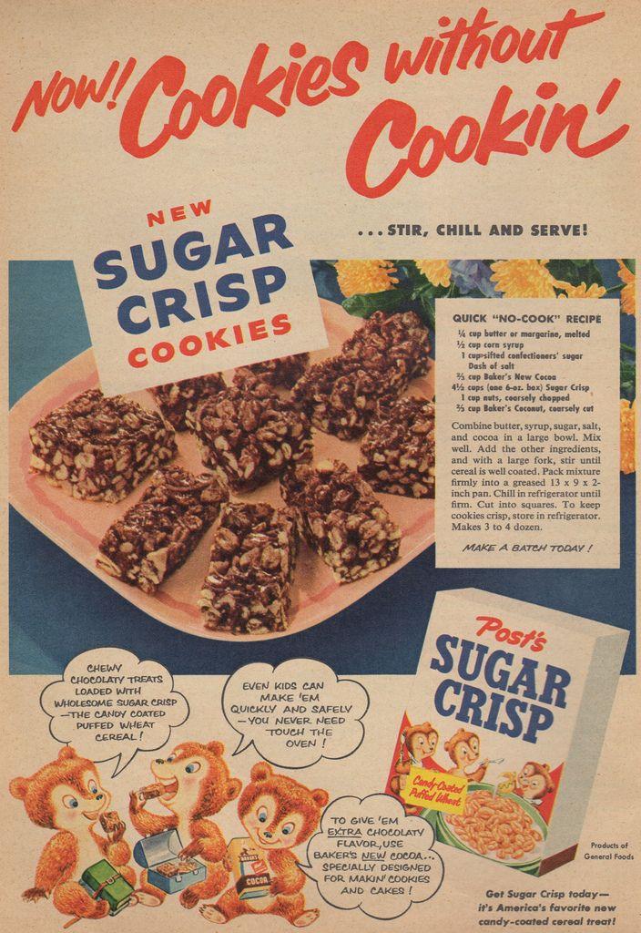 Sugar Crisp Cookies - Post's Sugar Crisp ad, Family Circle, 1956