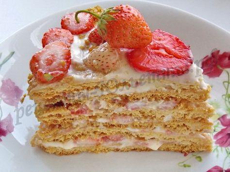 медовый торт с клубникой