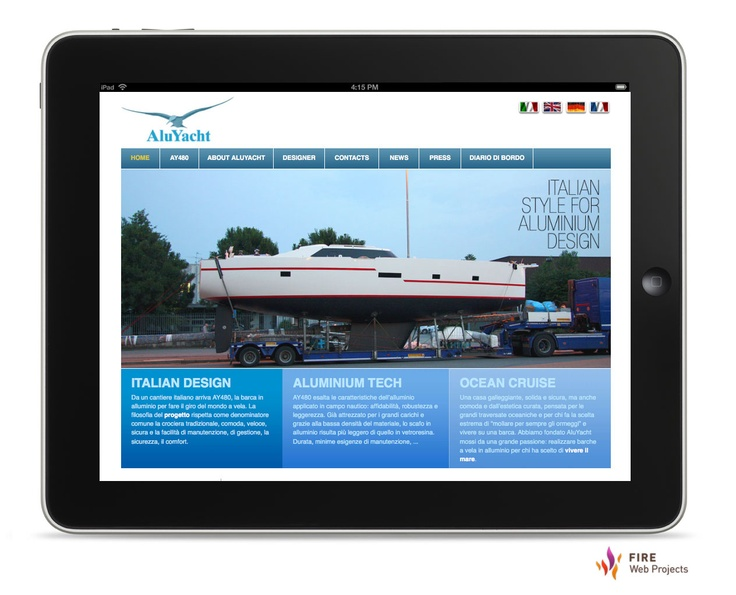 #Webdesign and development of AluYacht website. The aluminum boat to sail around the world, an italian shipyard manufacture. Click here to read the case study. http://www.firewebprojects.com/case-studies/aluyacht.aspx
