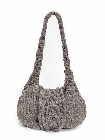 Knitted Handbag Kit: British alpaca wool knitted cable shoulder bag kit.