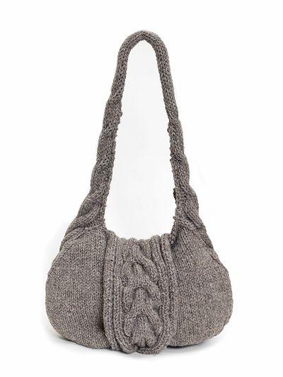 Knitted Handbag Kit: British alpaca wool knitted cable shoulder bag kit.