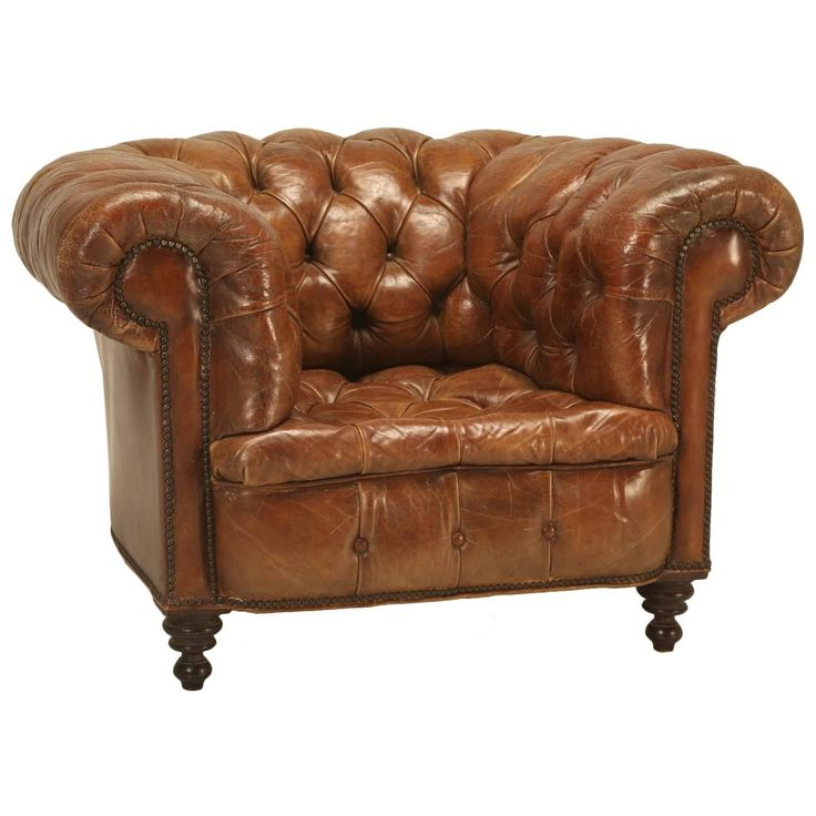 Antique Chesterfield Chair in Original Leather | See more antique and modern Armchairs at https://www.1stdibs.com/furniture/seating/armchairs