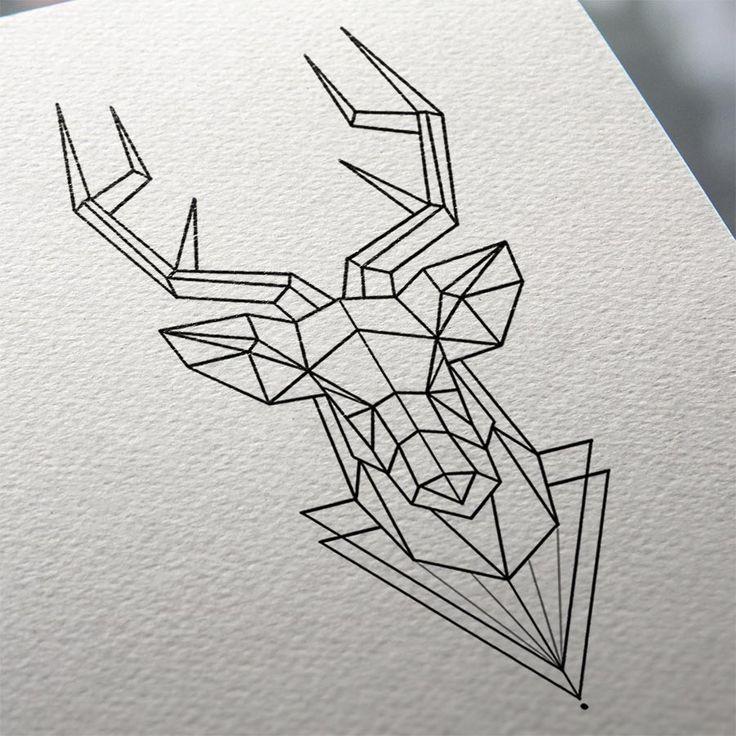 Geometric Animal Stag Tattoo Design - GEO1