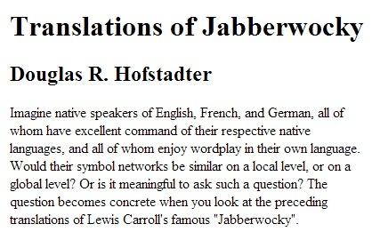 Translations of Jabberwocky