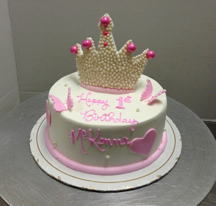 Pretty Princess Crown Birthday Cake #crown #butterfly # ...