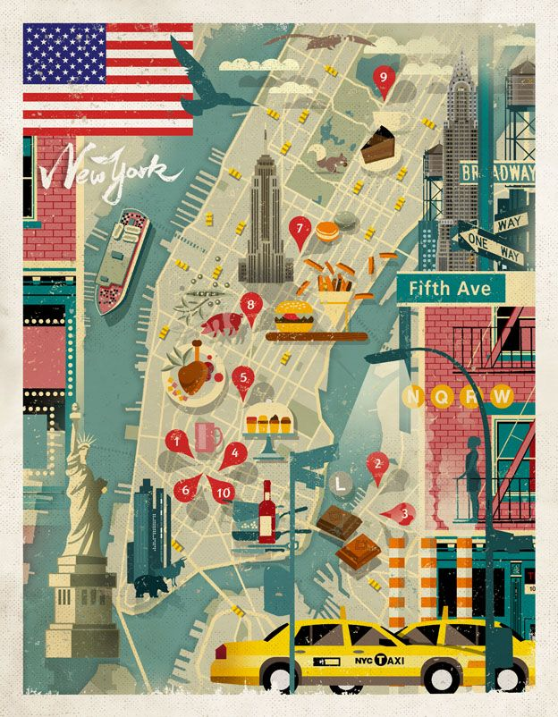Gorgeous NYC Map by Dieter Braun | ILLUSTRATION AGE. Use of Adobe Illustrator to compile information in a graphic presentation.