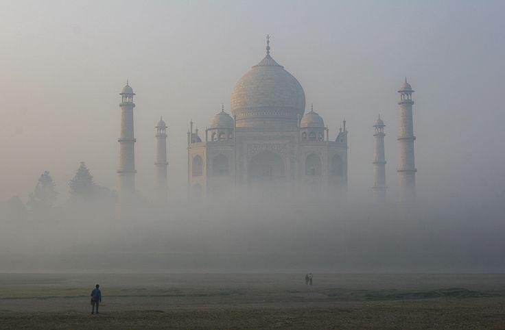 Taj Mahal in morning mist, Agra, India