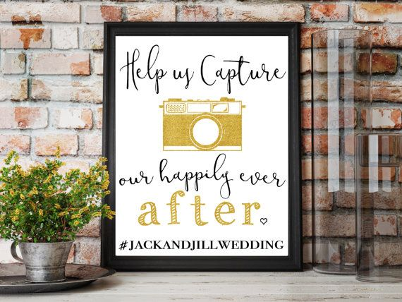 Help Us Cature Our Happily Ever After Wedding Printable. Instant Download. Social Media Print with Hashtag, Instagram, Facebook