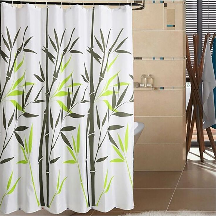 Bathroom Decor With Mildew-Free Water-Repellent Bamboo Shower Curtain,Bamboo 108-Inch by 78-Inch, 100% polyester 100% polyester, environmentally friendly Machine washable Rust-proof metal grommets and weighted hem,16 shower curtain rings for easy sliding and durability Made with latest organic...