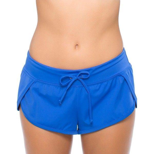 Oakley Core Dolphin-Hem Boyshort Bikini Bottom (1 235 UAH) ❤ liked on Polyvore featuring swimwear, bikinis, bikini bottoms, blue, boy shorts bikini bottoms, boy shorts swimwear, retro swimwear, retro swim wear and boyshort bikini bottoms