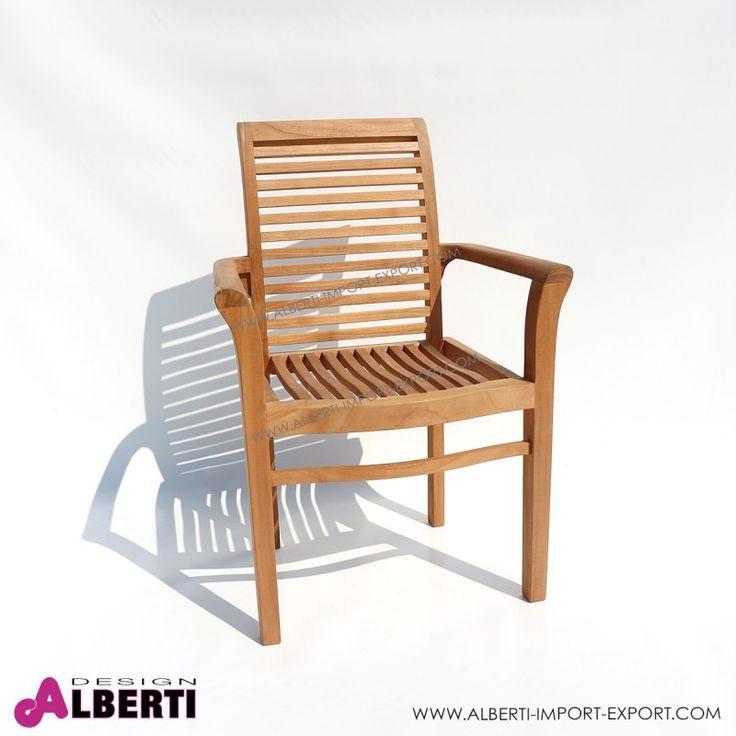 Poltroncina in teak con braccioli impilabile MANCHESTER 64x60x93 Poltrona in teak con braccioli con schienale alto e seduta