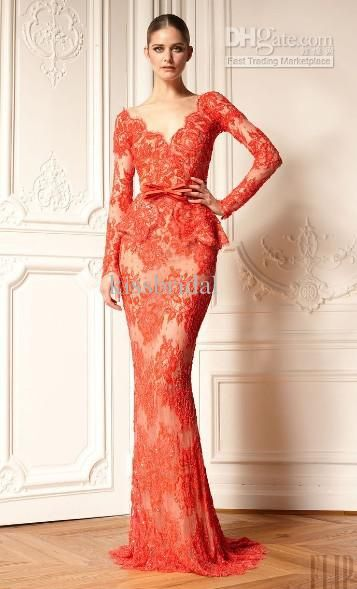 Cheap Long Sleeve Evening Gowns - Discount 2014 Zuhair Murad Festival Long Sleeve Evening Dresses Online with $144.83/Piece | DHgate