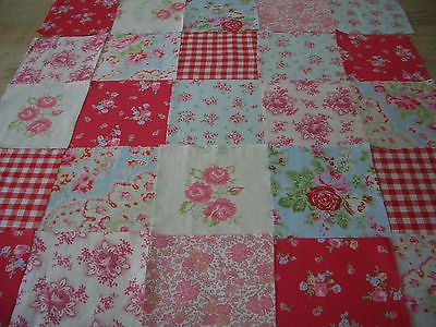 VINTAGE/new FABRIC 30 COTTON SQUARES CRAFT PATCHWORK 10 cms x 10 cms