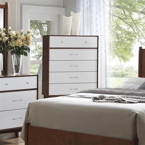 Delightful Oakwood Modern Brown White Felt Lined Top Drawer Wood Chest