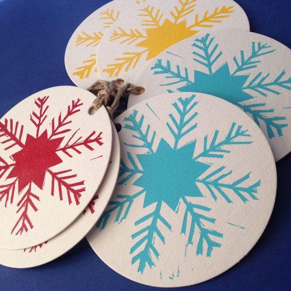 Christmas snowflake linocut letterpress gift tags, pk 6