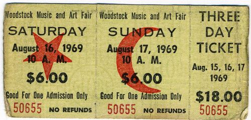 Woodstock. vintage ephemera. Wow! $18.00 for a concert like that!  I was too young, but I wanted to go!