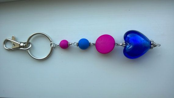 Keychain key ring beads keychain beads key by LesBijouxLibellule