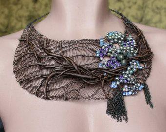 MUERTE DE MAR Statement Bib Copper Wire Crocheted por Ksemi en Etsy