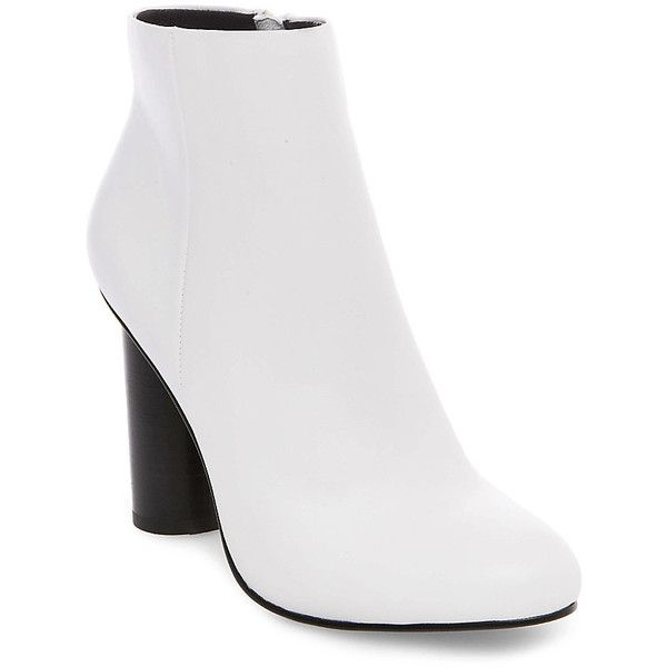 Steve Madden Rival Booties (£100) ❤ liked on Polyvore featuring shoes, boots, ankle booties, ankle boots, white leather, faux leather boots, steve madden boots, leather boots, white boots and white ankle boots