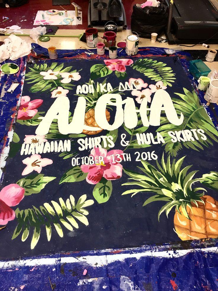 university of arkansas - alpha omicron pi (aoii) - sorority banner - hawaiian shirts and hula skirts function (mixer)