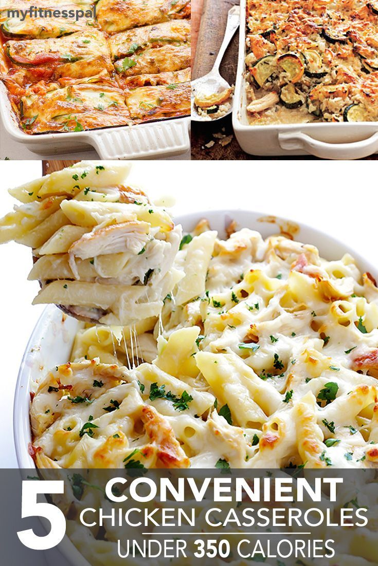 Nothing warms an oven quite like a chicken casserole. This comfort-inducing dish is a complete, nutritious meal-in-one: veggies, grains and lean meat baked up with a crispy, cheesy crust. Enjoying a cut of chicken casserole shouldn't blow your calorie budget, so we've compiled 5 convenient recipes under 350 calories per serving. 1. Chicken Zucchini Enchilada …