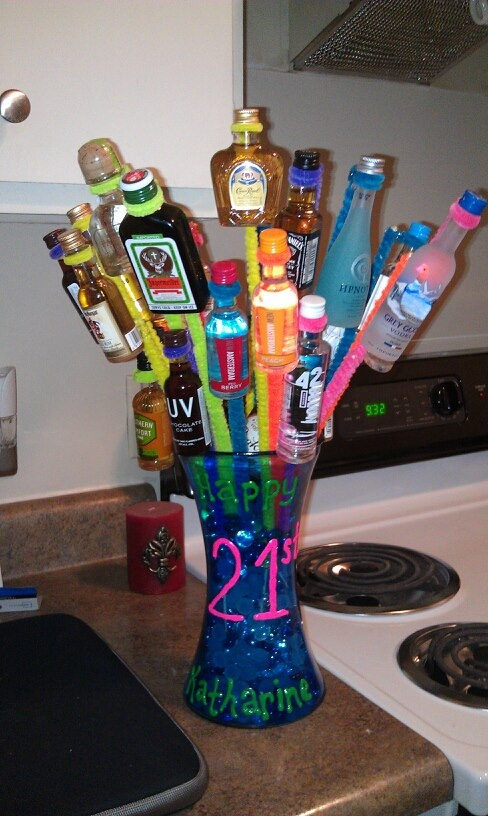 Liquor bouquet i made for my sisters 21st birthday mini for Things to make out of liquor bottles