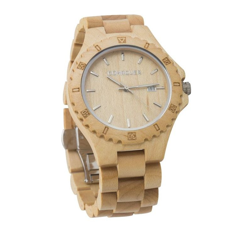 Reloj madera de pulsera original de hombre Cohnquer Coolness Maple. Diseño deportivo en madera de arce. ¡Cómpralo ahora con ga…