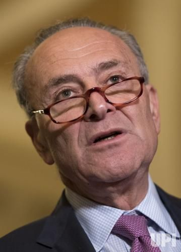 Senate Minority Leader Charles Schumer, D-N.Y., speaks on the the decision of the Republican leadership to delay a vote on the Senate…