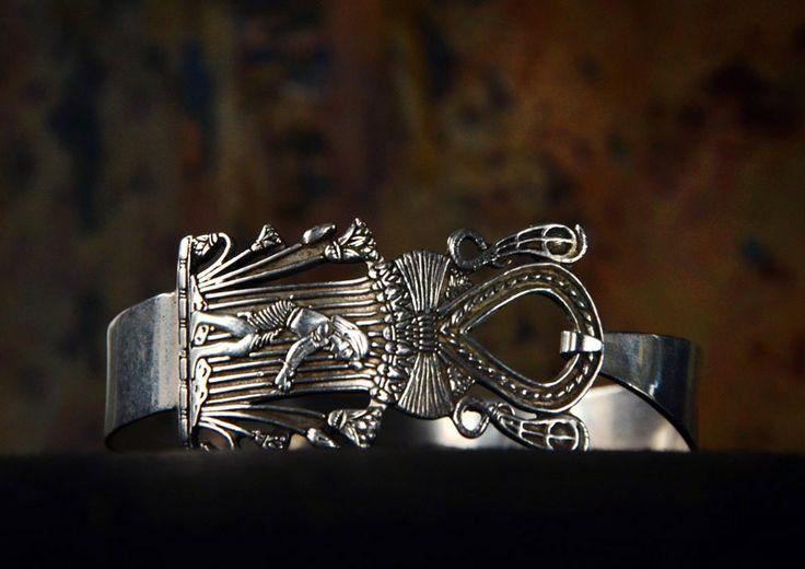 1946 Lotus & Pharaoh Bracelet, Sterling Silver, Egypt Hallmarks