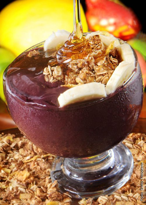 """Açaí"", thick ""juice"" that is eaten with a spoon and is made from the açaí fruit and guaraná syrup. Order this at any of the thousands juice bars spread around Rio de Janeiro. It is sweet and delicious, but so rich that some eat this as a meal.  Careful! You will put on weight if you eat too many of these."