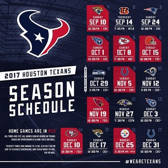 2017-18 HOUSTON TEXANS PRO NFL FOOTBALL SCHEDULE SEASON FRIDGE MAGNET (LARGE 4X5