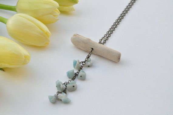 Natural Ocean Driftwood Necklace with Blue Aquamarine Gemstone chips. Crystal Healing Jewellery. Lead free, nickel free brass, Wood Necklace $24.99 www.etsy.com/shops/TeaAndMaple