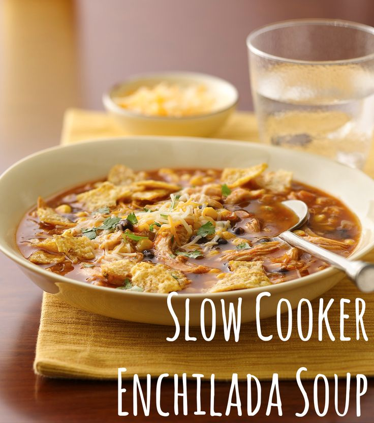 Slow Cooker Enchilada Soup# slow cooker healthy recipes