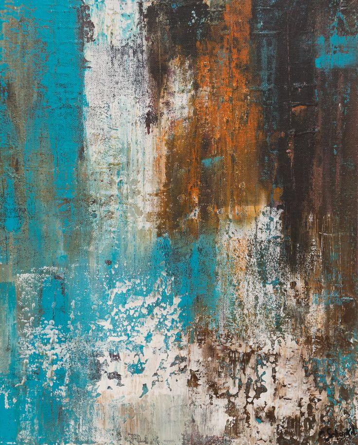 """Tableau moderne acrylique et matière """" Ecume de rouille"""" 33x41 cm : Peintures par les-tableaux-de-camille"""