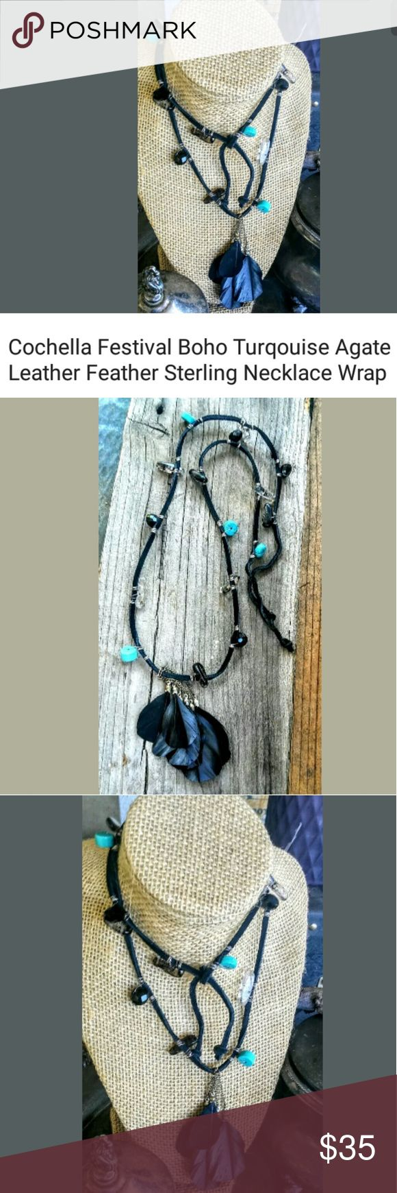 """Leather Precious Stone Boho Festival Neck Wrap Artisan Handcrafted Bohemian Leather Wrap Necklace 17"""" Urban Festival Boho Style Turquoise Agate Black Jet Vintage Feather Fringe 3"""" Unique Rustic Individual Can be worn several different ways!! Last picture shown with Turquoise Fringe Festival Necklace sold seperate Wildfox Jewelry Necklaces"""