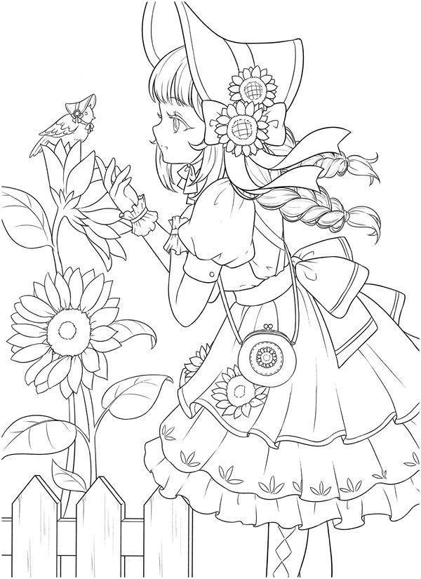 Download Tatacat Flower Fairy Dress Coloring Book Pdf Printable Hd Manga Coloring Book Coloring Book Art Coloring Books