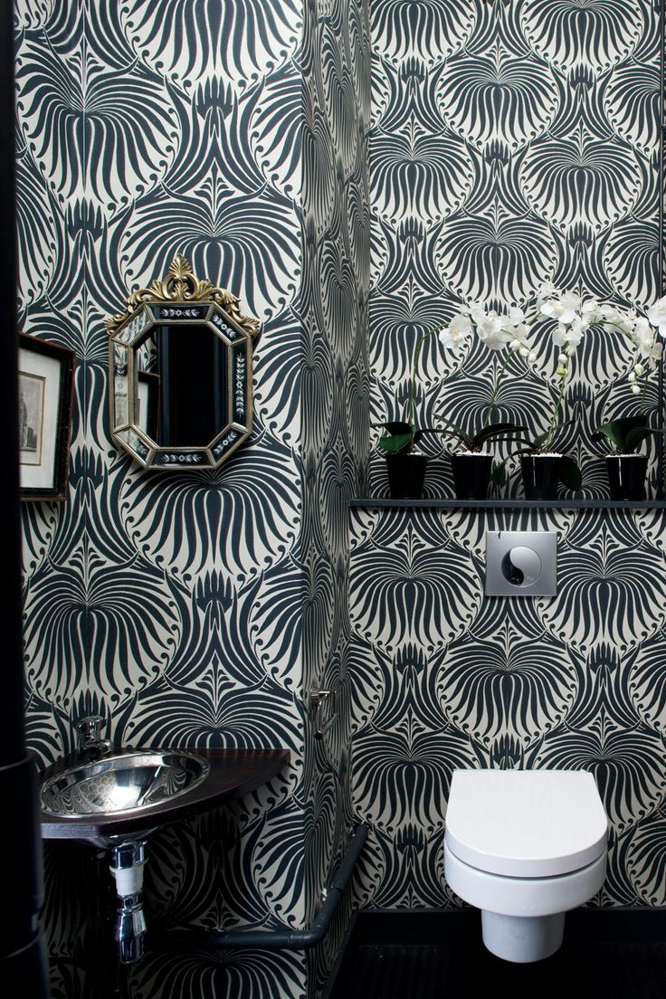 152 best powder room wallpaper images on pinterest room bathroom decorated in farrow ball lotus bp 2019 wallpaper