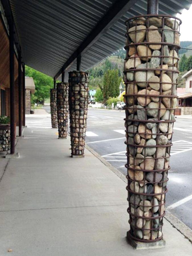 Rebar stone basket column covers.  Twisp, Washington.