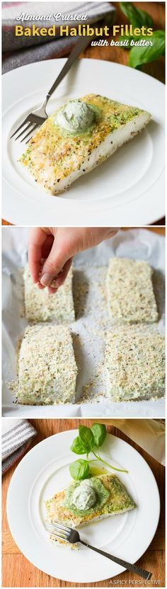 Easy 5-Ingredient Almond Crusted Baked Halibut with Basil Butter on ASpicyPerspective.com #5ingredient #halibut
