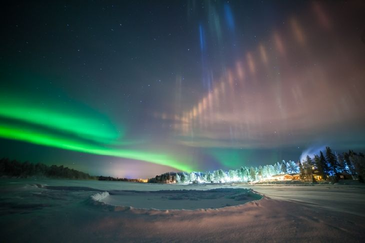 Auroras & Ice Crystals  Taken by Antti Pietikäinen on January 13, 2016 @ Muonio, Lapland, Finland
