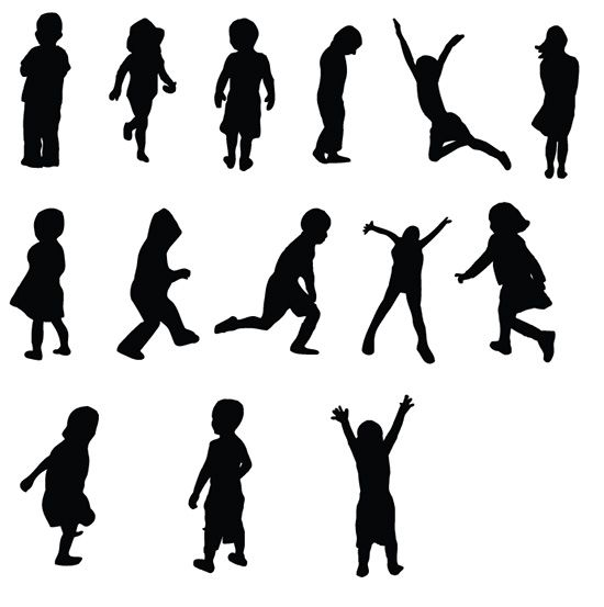 Free Kids Silhouettes Vectors and Brushes | Vandelay Design Blog